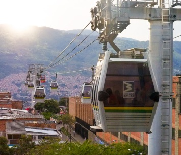 Cable cars at sunset
